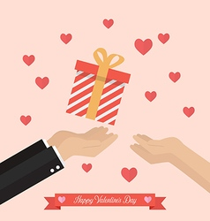 Man giving gift box to a woman vector image vector image