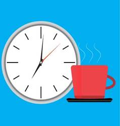 Wake up clock and cup of coffee vector image vector image