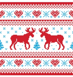 Winter knitted pattern card scandynavian style vector image