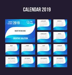 2019 modern calendar background collection vector image