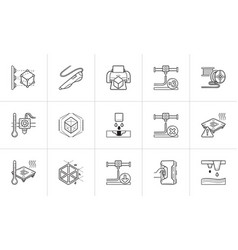 3d printing technology hand drawn outline doodle vector