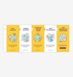 Access to internet yellow onboarding template vector