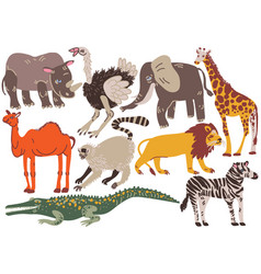 african animals set rhinoceros ostrich elephant vector image