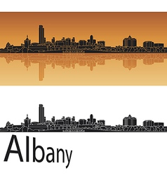 Albany skyline in orange background vector