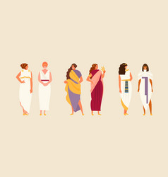 Ancient greek roman and egyptian women vector