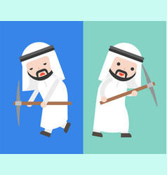 Arab businessman with pick axe in two mode full vector