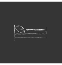 Bed Drawn in chalk icon vector