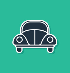 Blue car volkswagen beetle icon isolated on green vector