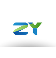 blue green zy z y alphabet letter logo vector image