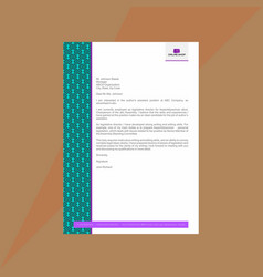Bright geometrical letterhead in jade and lilac vector