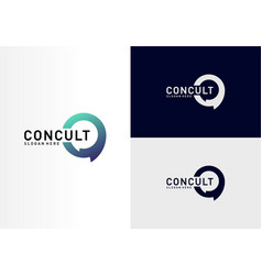 business consulting logo concept app chat talk vector image