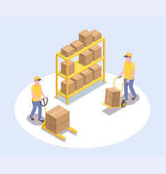 Cargo storage workers composition vector