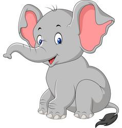 cartoon cute baby elephant sitting vector image