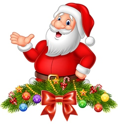Cartoon funny santa claus waving hand vector image