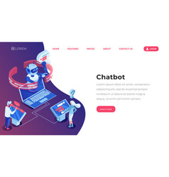 chatbot isometric landing template page online vector image