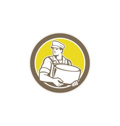 Cheesemaker Holding Parmesan Cheese Circle vector