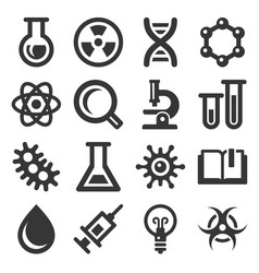 chemistry and science icon set on white background vector image