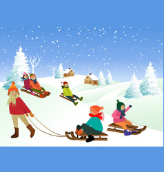 Children on a sled vector