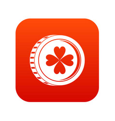 coin with clover sign icon digital red vector image