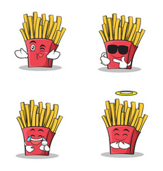 collection of french fries cartoon character set vector image