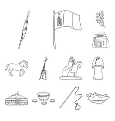 Country mongolia outline icons in set collection vector