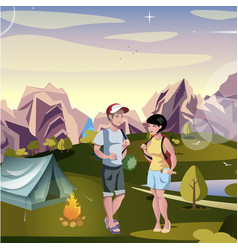 couple tourist hiking landscape background vector image