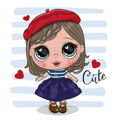 Cute cartoon girl in red beret vector