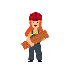 cute female child in builder uniform and safety vector image