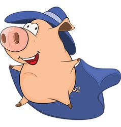 Cute Pig in Superhero Costume vector image