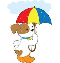 cute puppy in rain vector image
