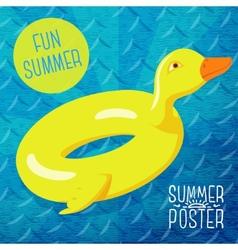Cute summer poster - fun sea rubber duck vector