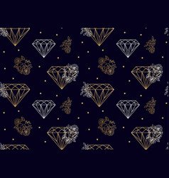 Diamonds and flowers seamless pattern gold vector