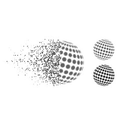Disintegrating dotted halftone abstract dotted vector