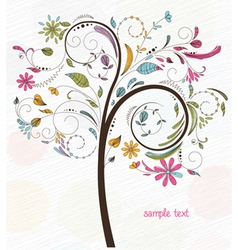 Doodles background with colorful tree vector