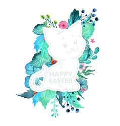 Easter watercolor natural with kitten sticker vector