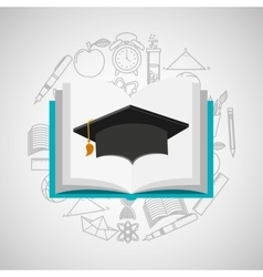 Eduation online concept book and graduation cap vector