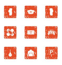 Emergency care icons set grunge style vector