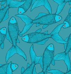 Fish cute seamless pattern vector
