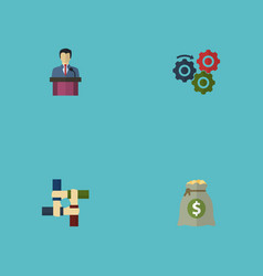 Flat icons support businessman income and other vector