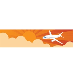 Flying airplanes banners for your text Retro vector image