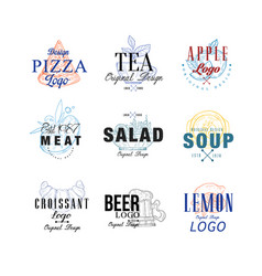 food logo design set pizza tea apple meat vector image