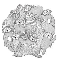Funny sloths circle shape pattern for coloring vector