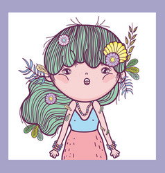 Girl defender of creatures with flowers and leaves vector