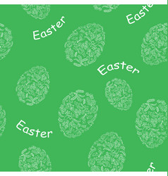 Green seamless pattern with easter eggs vector