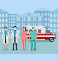 Group doctors and nurses with masks standing vector
