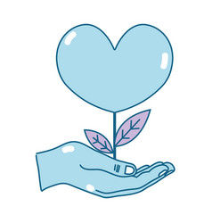Hand with beauty heart plant with leaves design vector