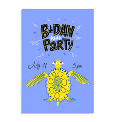 Happy birthday kids card with doodle elements vector