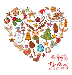 heart made of different christmas decorative vector image