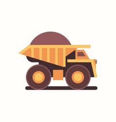 Heavy yellow dumper truck with coal industrial vector