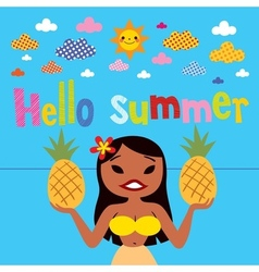 Hello summer hula girl vector image